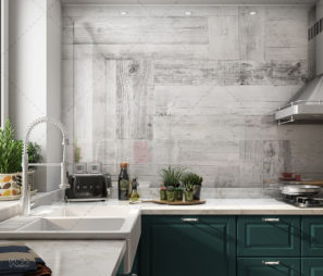 עץ לבן - חיפוי זכוכית למטבח כפרי לבן דגם 5123