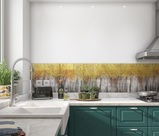 עצים מזהב - חיפוי קיר זכוכית למטבח יוקרתי וחדשני דגם 3421840