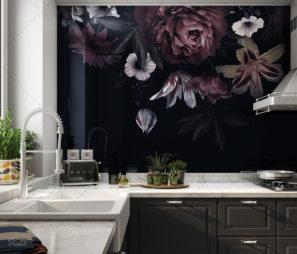 פרחים מודרניים - חיפוי זכוכית למטבח שחור דגם 5129