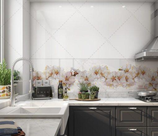 פרחים מודרניים - חיפוי זכוכית לבן למטבח דגם 5107