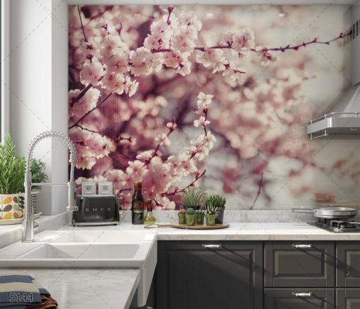 פריחת הדובדבן - חיפוי זכוכית פרחים למטבח דגם 5144