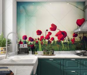 פריחת הורדים בטבע - חיפוי זכוכית למטבח דגם 5118