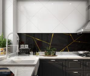 קווים גיאומטרים בזהב - חיפוי זכוכית שחורה למטבח מודרני דגם 5127