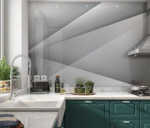 קיר גיאומטרי קלאסי - חיפוי קיר זכוכית למטבח דגם 5094