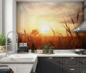 שקיעה בשדה חיטה - חיפוי זכוכית למטבח כפרי דגם 5119