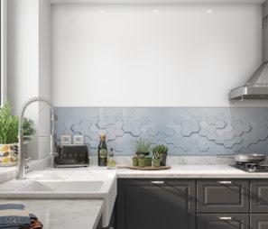 3D גיאומטרי לבן - חיפוי קיר זכוכית למטבח צורות תלת ממדיות דגם 5089