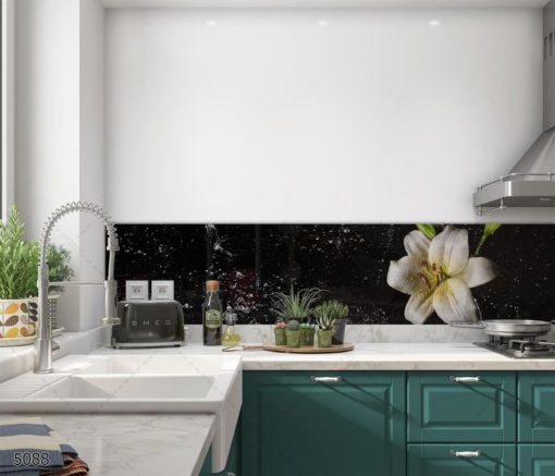 FLOWER - פרח על רקע שחור חיפוי קיר למטבח המודרני מזכוכית דגם 5088