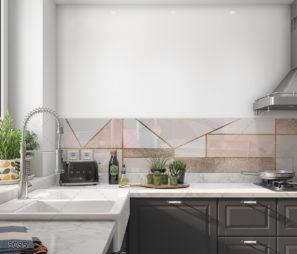 GLAMOUR - חיפוי קיר זכוכית למטבח ורוד גיאומטרי דגם 5085