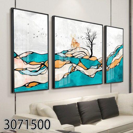 אילים בטבע מצויר - תמונת זכוכית מעוצבת ומגניבה לסלון או לובי דגם 3071500
