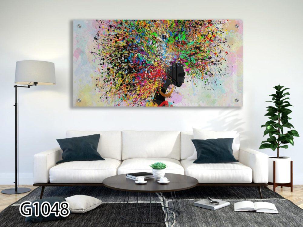 אפריקאית בצבעי פופ ארט תמונה בהדפסה ישירה על זכוכית לתלייה בסלון או חדר שינה דגם G1048