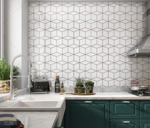 הגיאומטרי האהוב והטרנדי - חיפוי זכוכית למטבח שחור לבן דגם 5156