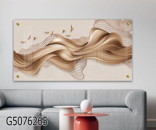 הרוח נושבת - תמונה על זכוכית עם ציפורים בצבע מוקה לסלון או ללובי דגם G5076265