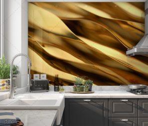 זהב מלטף - חיפוי זכוכית זהב למטבח זוהר ומודרני דגם 5155