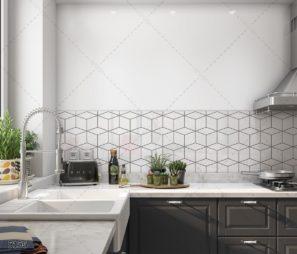 חיפוי זכוכית למטבח גיאומטרי לבן קלאסי למטבח מודרני דגם 5156