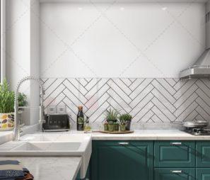 חיפוי זכוכית למטבח טקסטורה גיאומטרית מודרנית לבן שחור דגם 5148