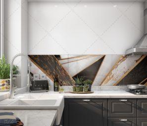 חיפוי זכוכית עם טקסטורה גיאומטרית למטבח בזהב שחור לבן דגם 5145