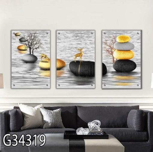 חלוקי נחל ואיילים סט 3 תמונות מעוצבות על זכוכית לסלון או פינת אוכל דגם G34319