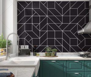 טקסטורה גיאומטרית מודרנית חיפוי זכוכית למטבח שחור קווים בצבע לבן דגם 5147