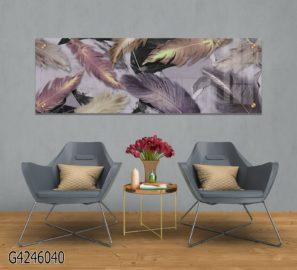 נוצות בסגול - תמונה על זכוכית פנורמית מעוצבת לסלון או למשרד דגם G4246040