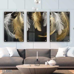 נוצות הזהב - סט 3 תמונות מעוצבות על זכוכית לתלייה בסלון או פינת אוכל דגם 313086
