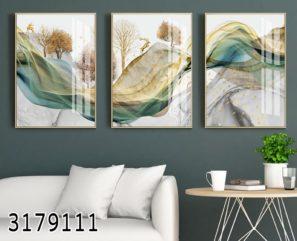 סוריאליזם בטבע - סט 3 תמונות מעוצבות לסלון או לפינת אוכל על זכוכית דגם 3179111