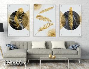 סט תמונות זכוכית מעוצבות לבית המודרני בשלושה חלקים - נוצות ועיגולים גיאומטריים לסלון או למשרד דגם 375589