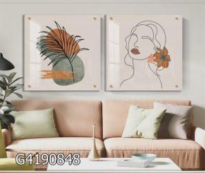סט תמונות קו על זכוכית - אישה ועלים סגנון מינימליסטי לחדר שינה או קליניקה דגם G4190848