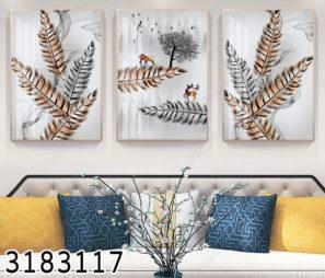 סט 3 תמונות מעוצבות סוריאליסטיות על זכוכית איילים וטבע לסלון או פינת אוכל דגם 3183117