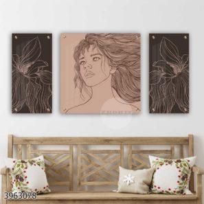 סט 3 תמונות קו - אישה מינימליסטית ופרחים תמונות זכוכית בקו אחד דגם 3963078