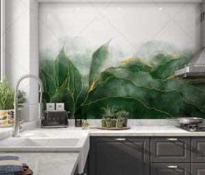 עלים ירוקים עם טאץ' זהב - חיפוי זכוכית למטבח על רקע לבן דגם 5153