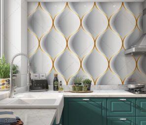 צורות תלת ממדיות חיפוי זכוכית למטבח לבן זהב דגם 5152