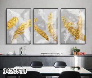 תמונת זכוכית מעוצבת - עלי הזהב על רקע כסוף לסלון או לפינת אוכל דגם 3420738