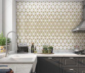 CREAM חיפוי זכוכית גיאומטרי למטבח מודרני קווים בצבע לבן דגם 5151