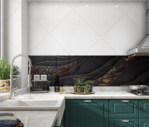 WAVES חיפוי זכוכית למטבח עם טקסטורת גלים שחור זהב דגם 5154