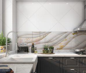 WAVES חיפוי זכוכית עם טקסטורת גלים למטבח לבן וזהב דגם 5146