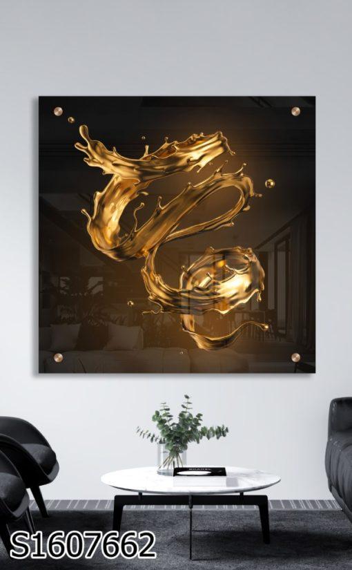 התזת זהב - תמונה מודרנית קסומה על זכוכית לסלון לפינת אוכל או לכניסה לבית דגם S1607662