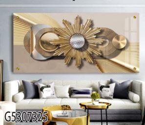זהב מודרני - תמונה תלת מימד על זכוכית לסלון או למשרד דגם G5307325