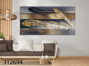 נוצות זהב כחול - תמונת זכוכית לסלון או למשרד דגם 312694