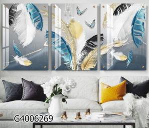 סט תמונות של נוצות על רקע אפור לבן בהדפסה על זכוכית מתאימות לסלון דגם G4006269