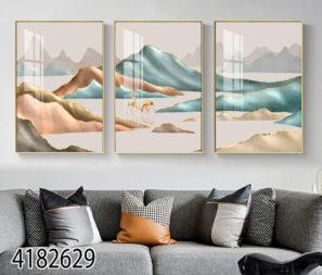 סט 3 תמונות נורדיות של נוף הרים בהדפסה על זכוכית מתאימות לסלון דגם 4182629