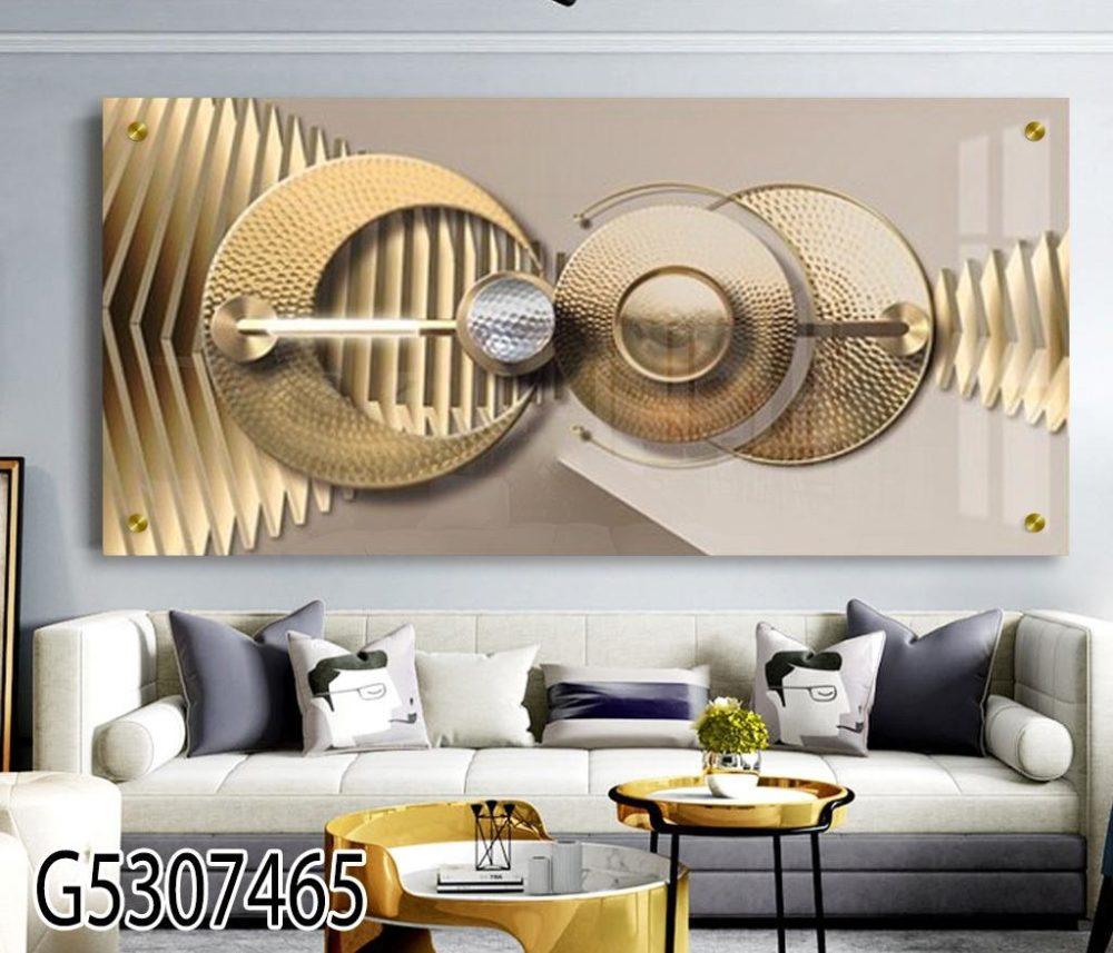 עיגולים תלת ממדיים - תמונת זכוכית בזהב למשרדים מעוצבים או לסלון דגם G5307465