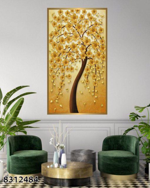 עץ החיים בזהב - תמונת זכוכית לתלייה במשרד או בכניסה לבית דגם 8312484