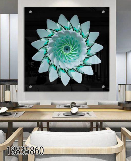 פרח תכלת וטורקיז - תמונה של מנדלה לסלון לפינת אוכל או לכניסה לבית דגם 18835860