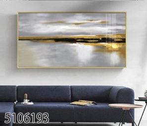 ציור מופשט של נוף ים - תמונת זכוכית מהממת לסלון או למשרד דגם 5106193