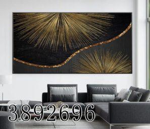 תמונה בזהב שחור לבית מלון או משרד מעוצב או לסלון - הדפה על זכוכית דגם 3892696