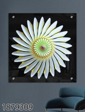 תמונה של מנדלה פרחים - הדפסה על זכוכית מתאימה לסלון לכניסה לבית ולפינת אוכל דגם 1879309