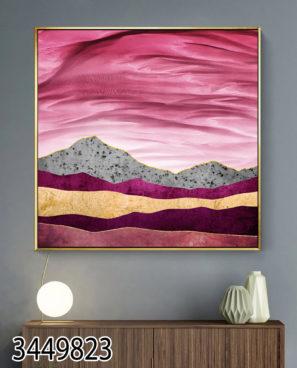 תמונה של נוף ורוד תמונה מרגיעה בהדפסה על זכוכית לסלון או למשרד דגם 3449823