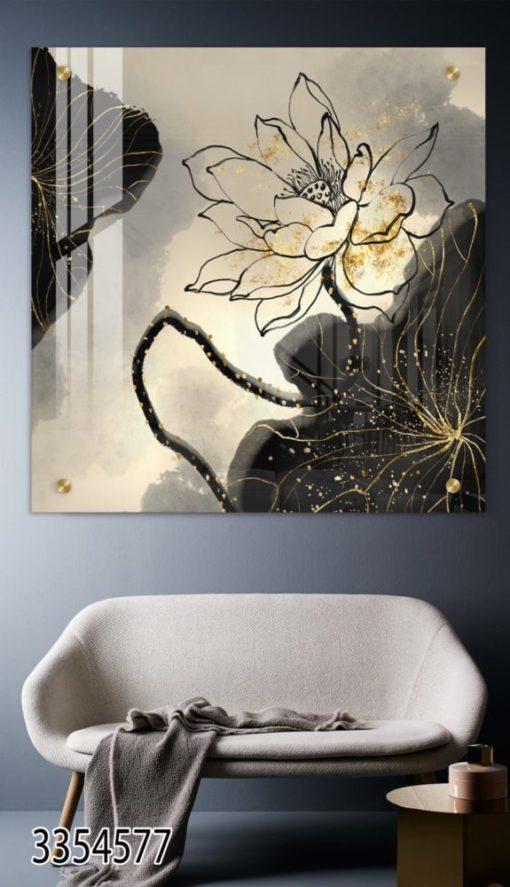תמונת אבסטרקט עם סרטוט קו של פרח תמונה מודרנית לסלון כניסה לבית או לפינת אוכל דגם 3354577