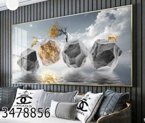 אבני ים בכסף - תמונות זכוכית יוקרתיות לסלון לפינת אוכל או למשרד דגם 3478856