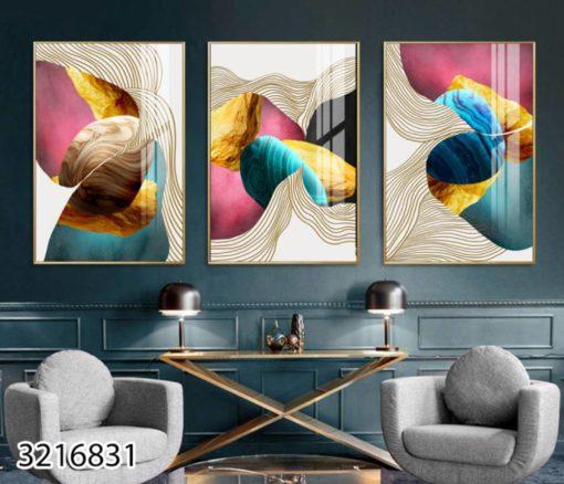 אבסטרקט אבנים - סט 3 תמונות צבעוניות לסלון או למשרד על זכוכית דגם 3216831